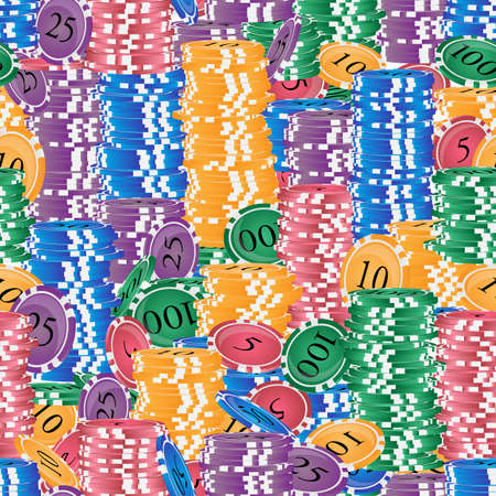Vector seamless pattern. Endless stacks of colored casino chips. Ilustração