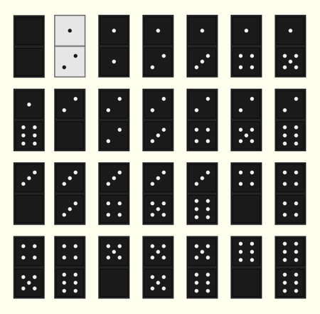 Vector illustration. Metaphor one white bone stands out from the crowd of black dominoes.