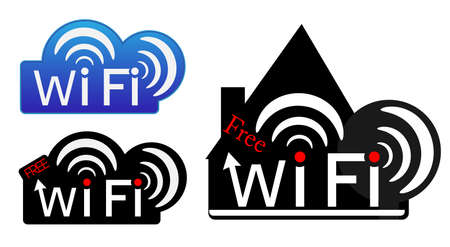 Set of creative wifi stickers. Vector