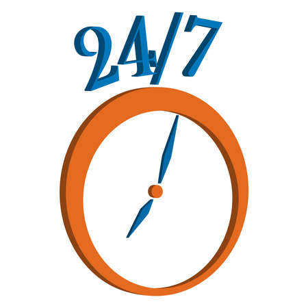 around the clock: Vector illustration. Open and service around the clock and 7 days a week icon isolated on white background. Illustration
