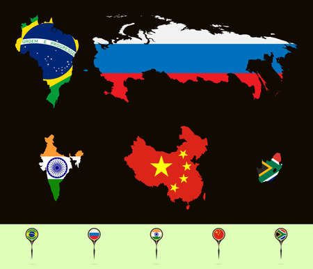 bric: Vector illustration.  Silhouette maps with flags  BRICS (Brazil, Russia, India, China, South Africa). Set creative markers with flags of states of the BRICS.