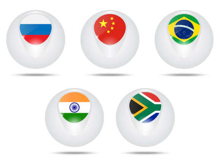 bric: Vector creative ball with flags Brazil, Russia,, India, China and South Africa. BRICS.