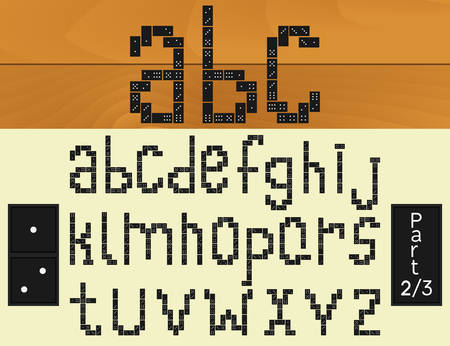 built: Vector smooth alphabet built of dominoes. Part 2 of 3. Lower register.