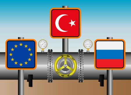 transit: Vector illustration. Russian - Turkish transit gas pipeline Illustration