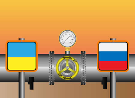 stop gate valve: Vector illustration. The gas pipeline Russia -  Ukraine