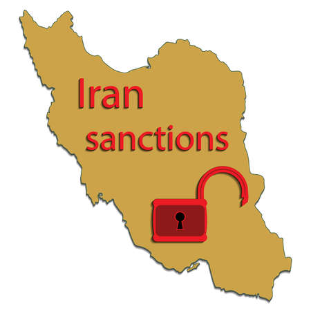 sanction: Vector illustration. Silhouette map of the Iran with symbol lifting of economic sanctions Isolated on white background.