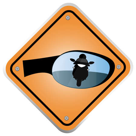 Vector illustration. Sign reminds drivers to look in mirror. Vector