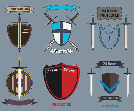 Vector set security labels wish shield and swords Vector
