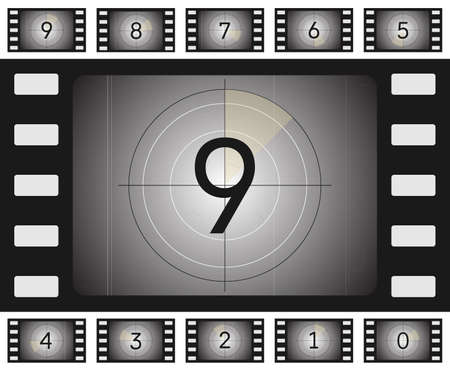 Vector old film countdown with scratches and vorse for your animation. Stock Illustratie