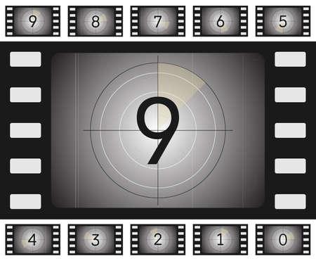 Vector oude film countdown met krassen en Vorse voor uw animatie.