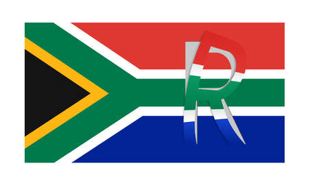 rand: Vector flag of South africa with peeled currency Rand symbol Illustration