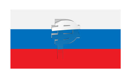 detach: Vector flag of Russia with peeled ruble symbol