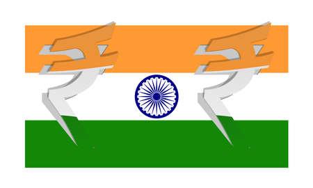 brics: Vector flag of India with peeled rupee symbol Illustration
