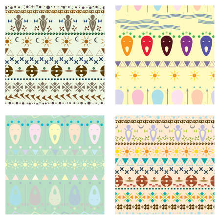 never ending: Vector set of colored tribal ethnic seamless pattern.