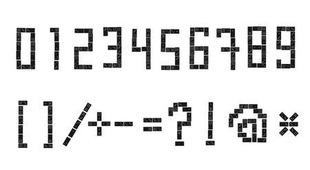 built: Vector numerals and sign sloppy built of dominoes on a white background. Part 3 of 3. Illustration