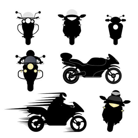 Set of vector silhouettes of different motorcycles. 일러스트