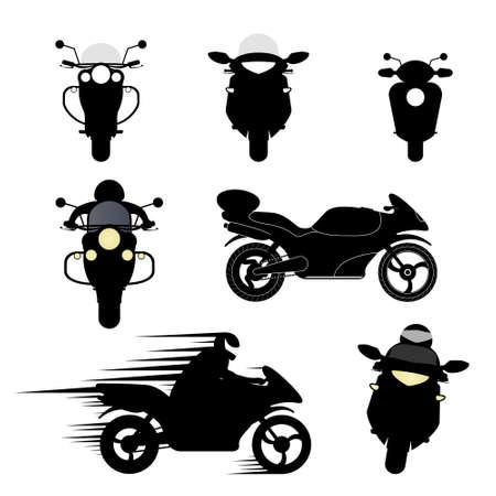 ciclista silueta: Conjunto de vectores de siluetas de diferentes motocicletas.