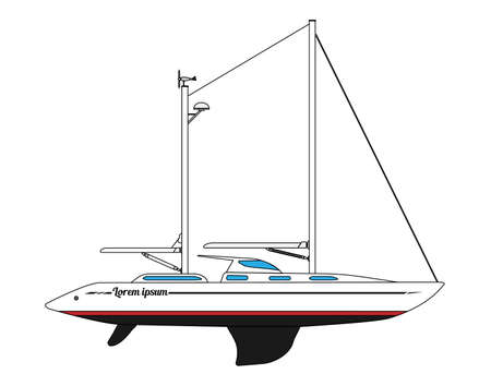 Modern two-masted sailing yacht. Vector illustration. Vector