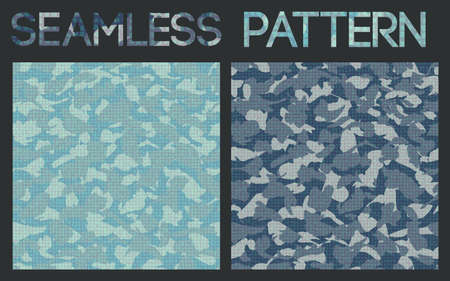 nato: Vector set of blue camouflage seamless pattern.