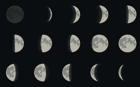 Vector illustratie. Iconen fasen van de maan.