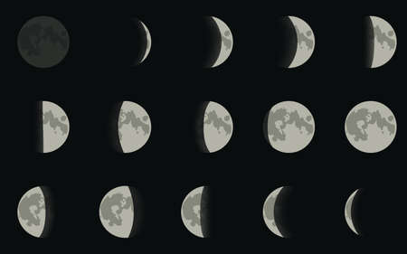 moon crater: Vector illustration. Icons phases of the moon.