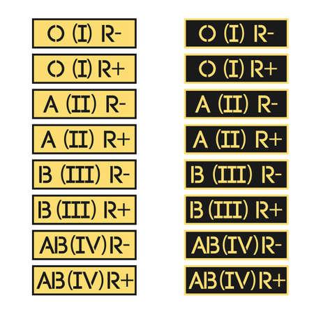 clasificacion: Conjunto de rayas del ej�rcito con el signo de los grupos sangu�neos de la clasificaci�n internacional de Vector. Vectores