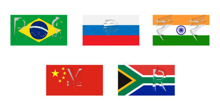 brics: Vector flags of BRICS with peeled national currencies symbol. Illustration