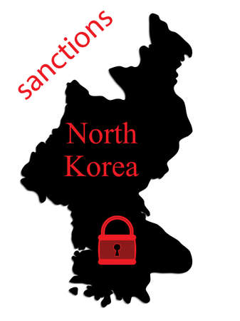 blockade: Vector silhouette in North Korea with a red padlock and the words sanctions.
