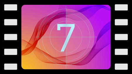 tv screen: Vector film countdown on an abstract background. Frame 7 of 10.