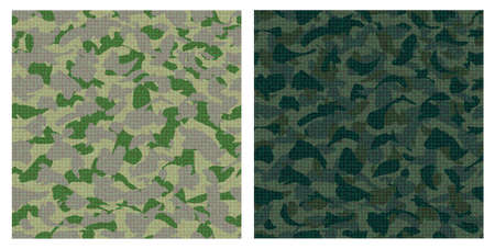 concealment: Vector set of dark green camouflage seamless pattern.