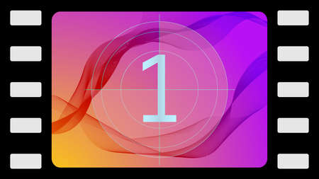 reckon: Vector film countdown on an abstract background. Frame 1 of 10. Illustration