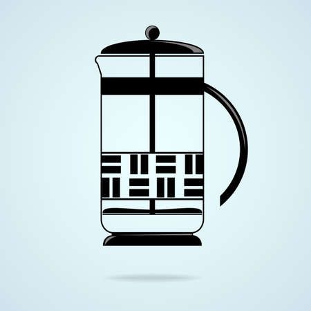 brew: Vector illustration. French press to brew coffee and tea. Illustration