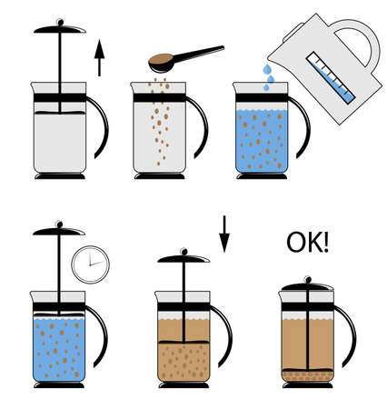Vector illustration. Instructions for use teapot - french press. Vettoriali