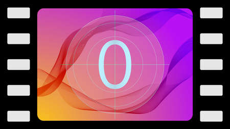 Vector film countdown on an abstract background. Frame 10 of 10. Ilustração