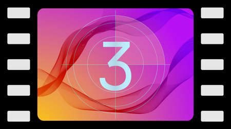 contagem regressiva: Vector film countdown on an abstract background. Frame 3 of 10.