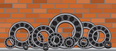 ベアリング: レンガ壁の背景に異なる径のベアリングのシリーズ。  イラスト・ベクター素材