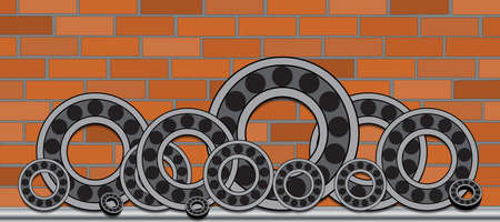 bearings: A series of bearings of different diameters on the brick wall background. Illustration