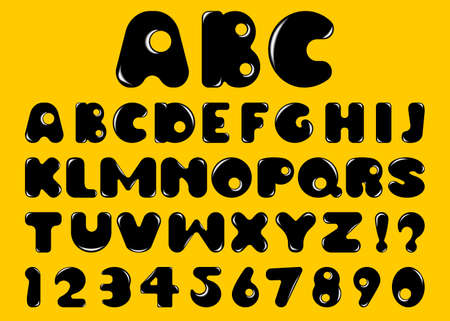 Vector black bubble alphabet