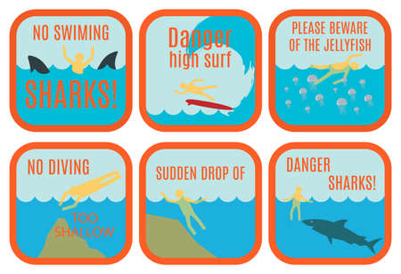 no diving sign: Set of vector safety signs at the beach