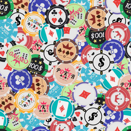repeat pattern: Vector seamless pattern of colored casino chips placer
