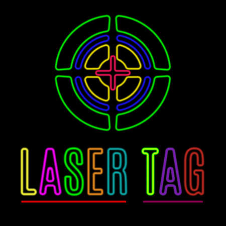 Vector emblem of laser tag in neon style. Stock Illustratie