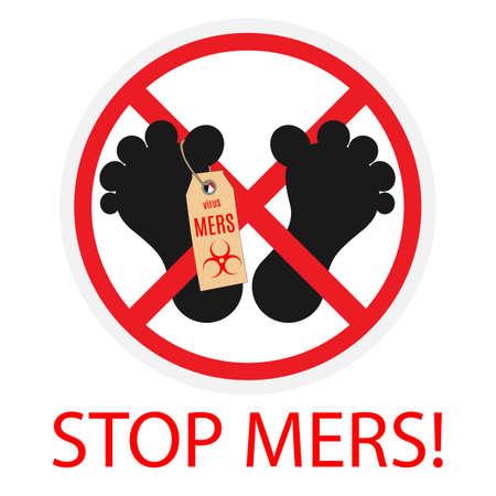coronavirus: Vector illustration. Stop sign virus MERS.