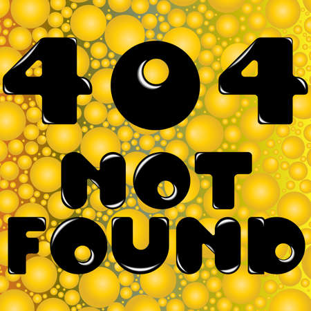 page not found: Vector illustration. Page not found Error 404. Conceptual text on a yellow background from balls. Illustration