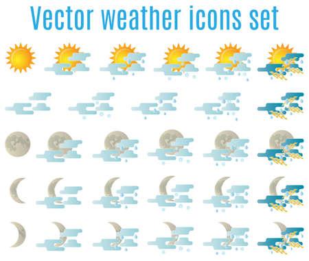 estado del tiempo: Icono del tiempo Conjunto de vectores para el diseño web