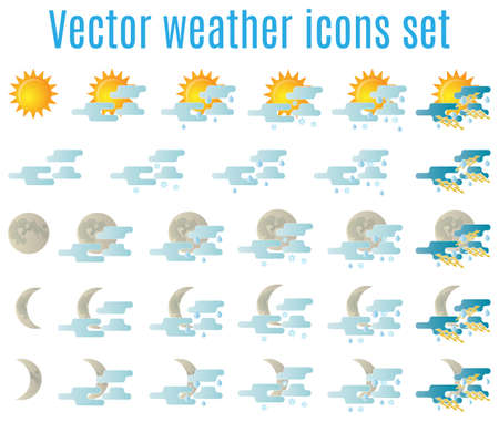 rain weather: Vector weather icon set for web design Illustration
