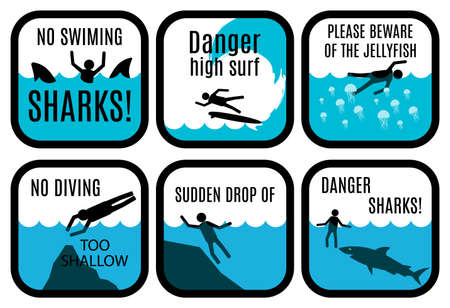 water safety: Vector set of safety signs at the beach