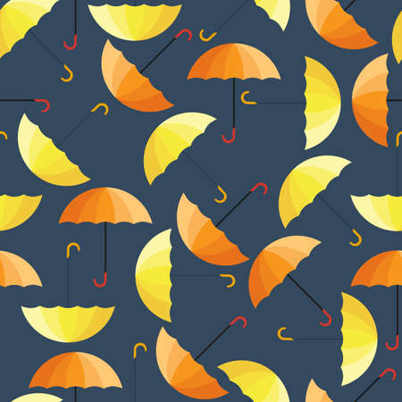 Seamless vector texture. The pattern of yellow and orange umbrella on a dark background. It is convenient to use for design of wrapping paper, tissue, wallpaper, web design.