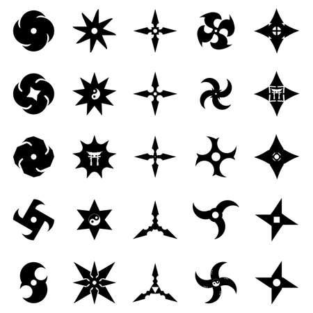 Shurikens ninja japanese concealed weapon. Vector stars icons set.