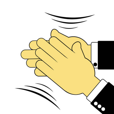 renown: Vector illustration. Sign of applauding hands isolated on white background.