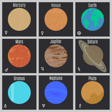 cosmo: The planets of the solar system. Vector.